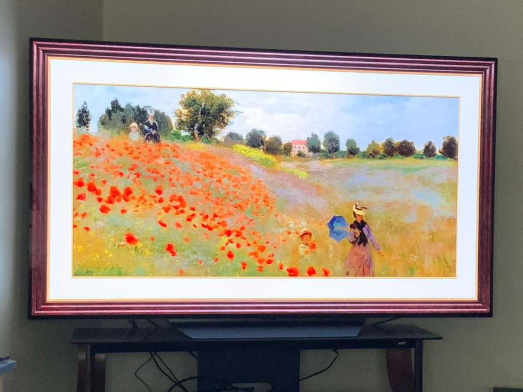 Sony frame TV showing painting