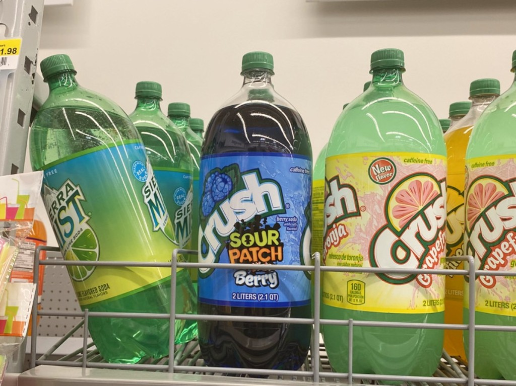 Crush soda on the shelf at Walmart