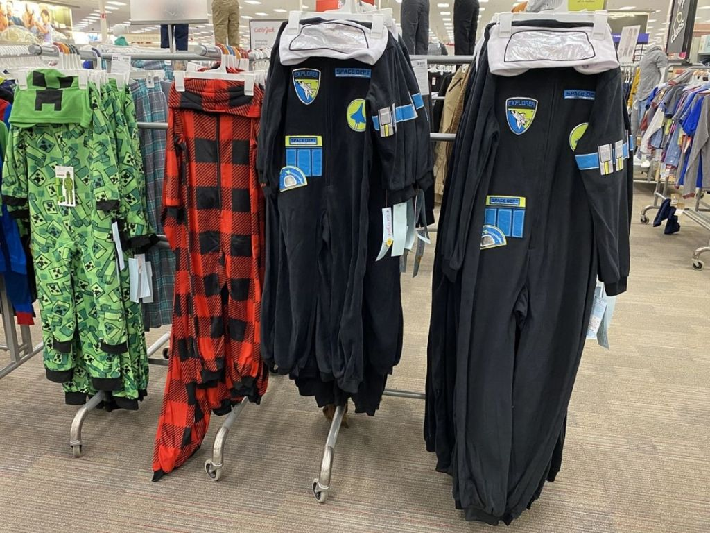 space suit union suit hanging in store
