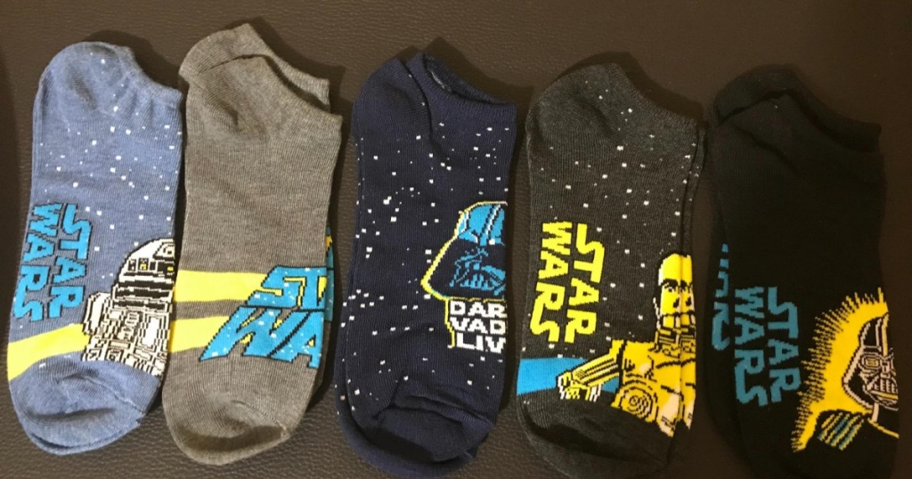 five pairs of star wars socks