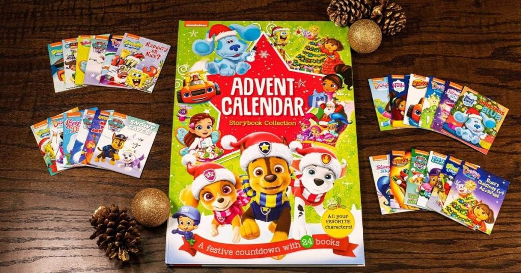 Nickelodeon Advent Calendar with books scattered around
