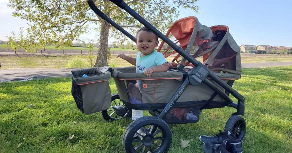 baby in stroller wagon outside