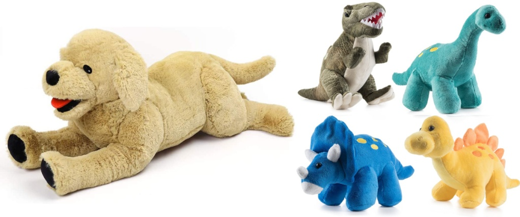 dog and dinosaur stuffed animals