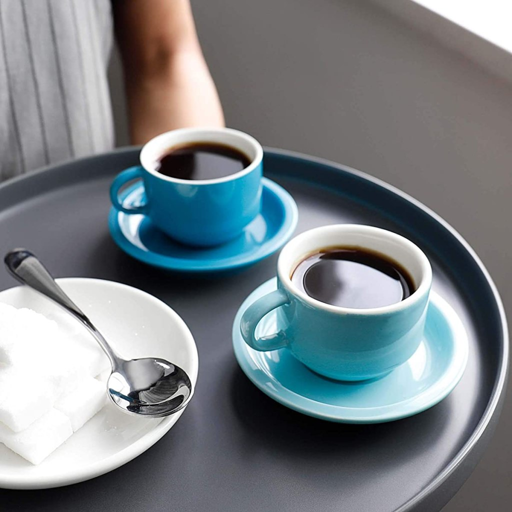 tray with coffee cups on it