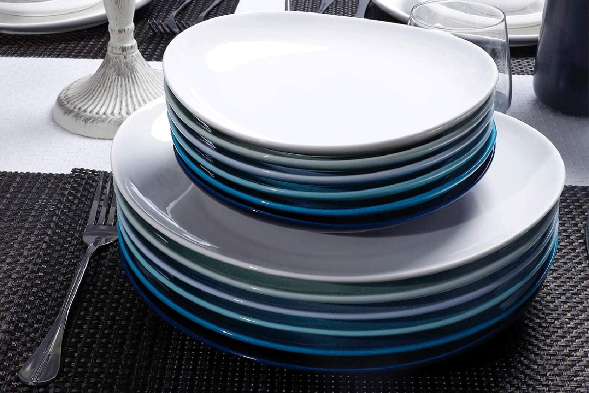 sweese salad plates stacked on larger plates in cool colors