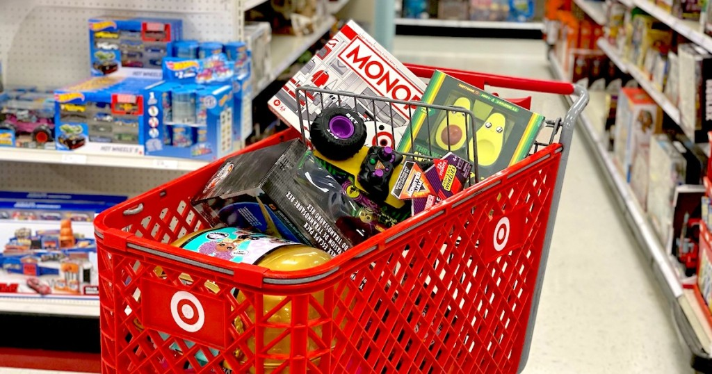 target cart full of toys in store aisle