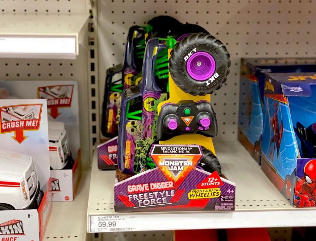 monster truck in box on store shelf