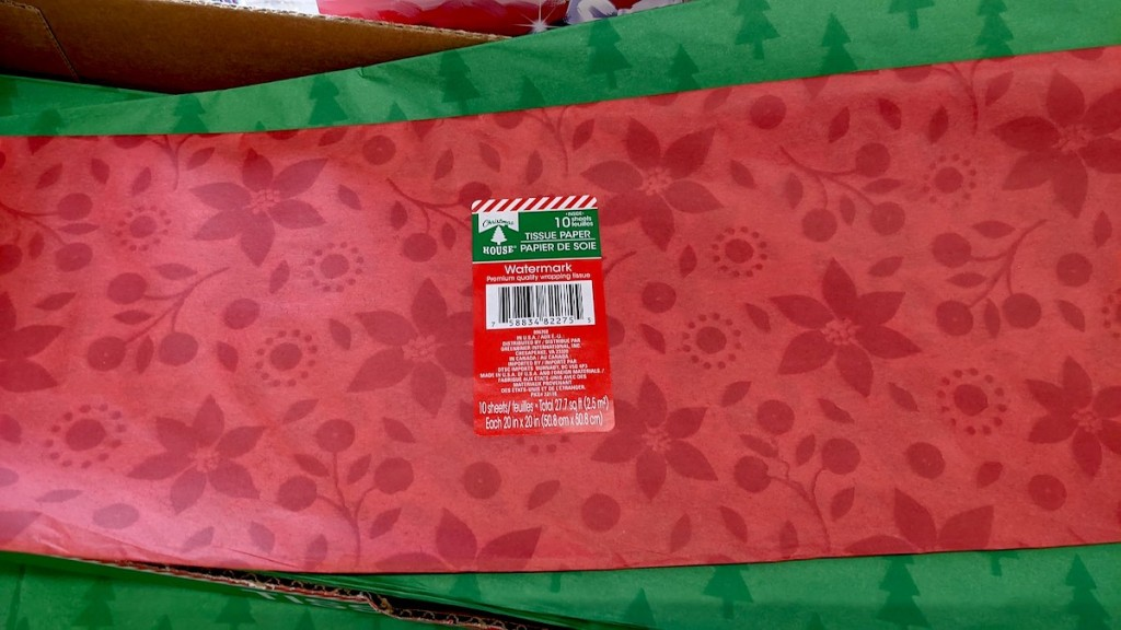 green and red tissue paper in store