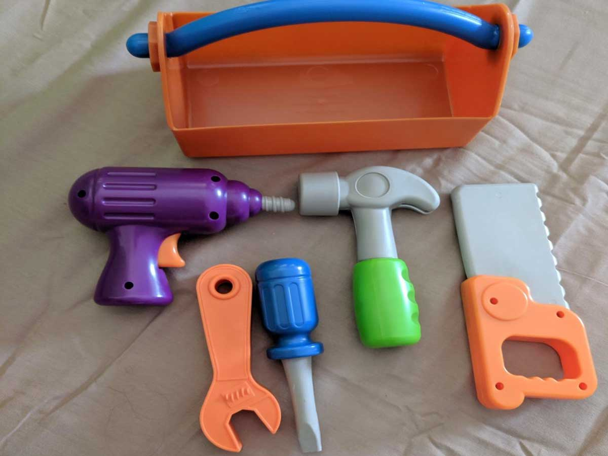 close up picture of toolbox and tools for kids