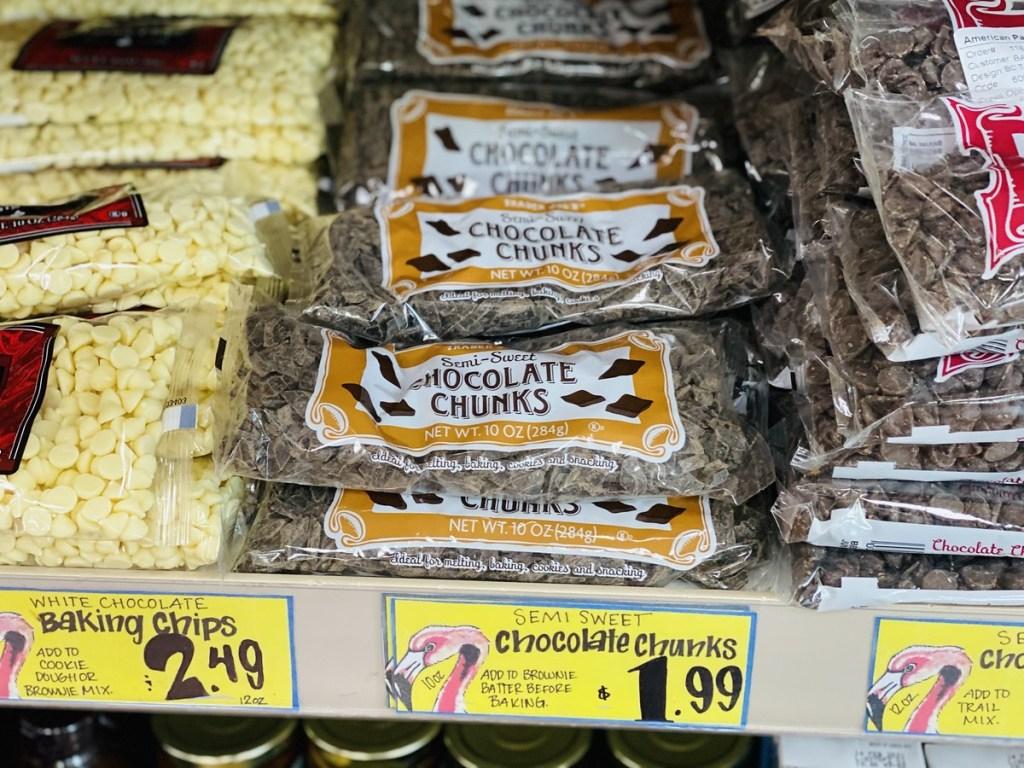 chocolate chunks on shelf at Trader Joe's