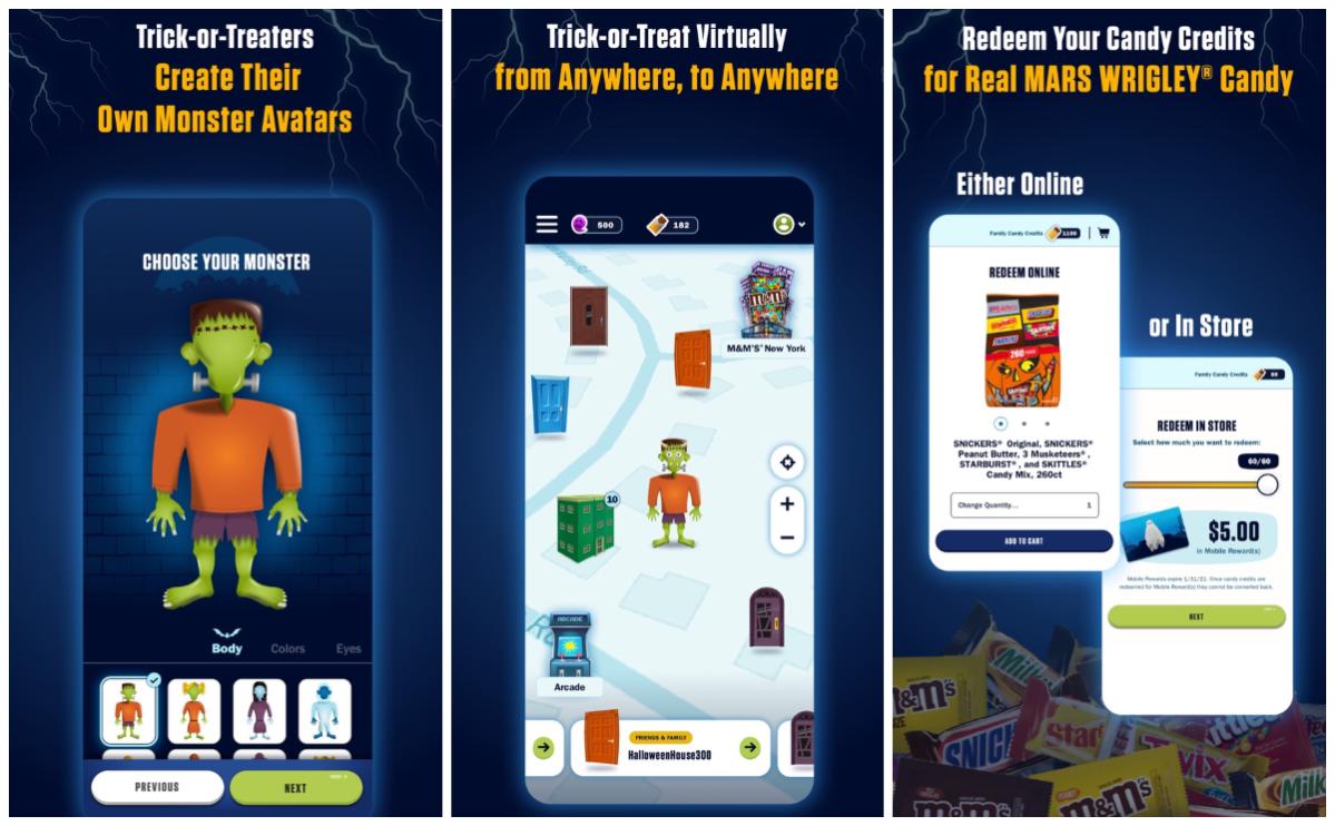 3 screenshots from treat town app