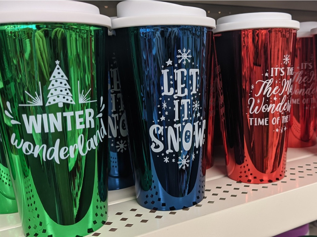 tall cups with foil colors and Christmas sayings