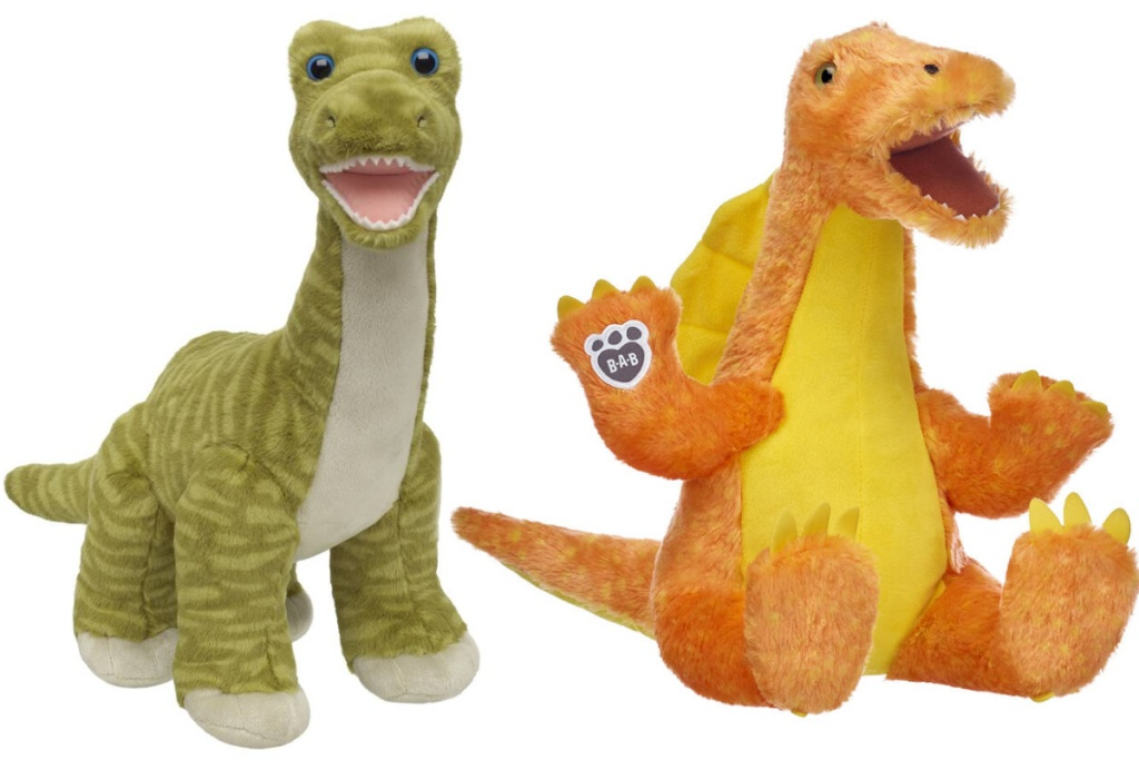 two build a bear dinosaurs orange and green