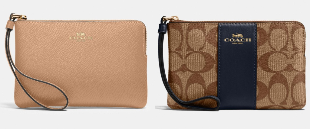 two coach wristlets camel and black canvas