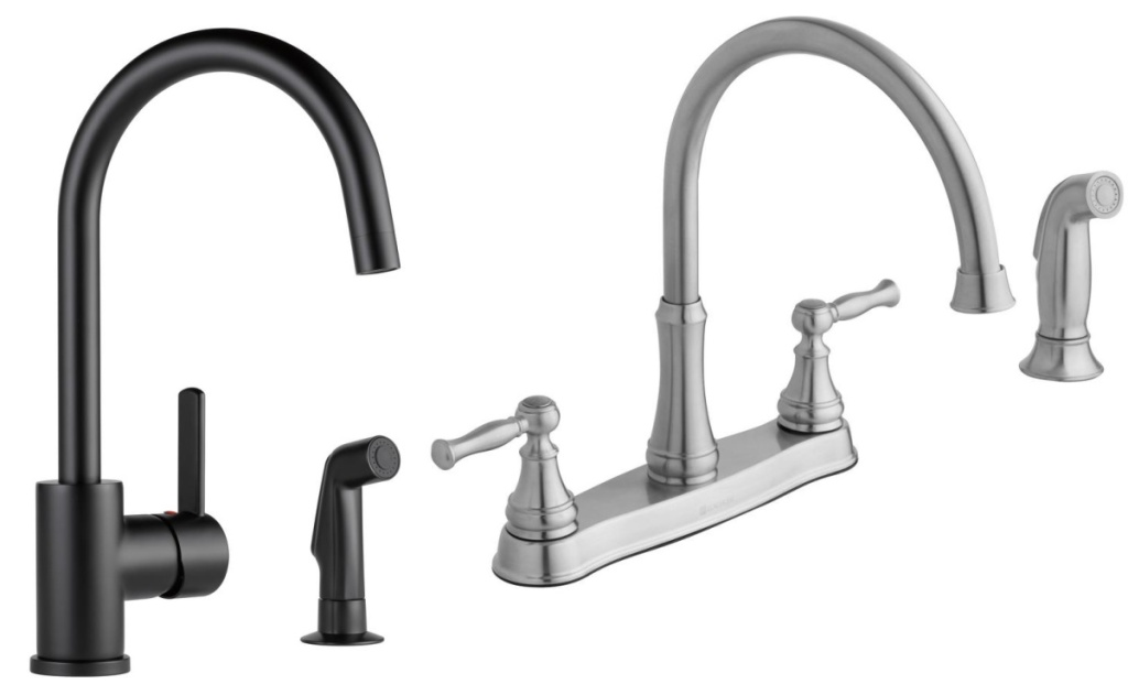 two faucets matte black and brushed stainless steel