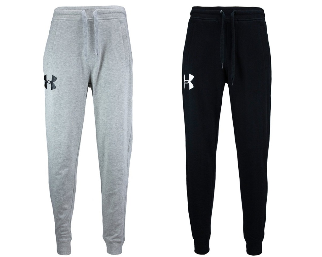 two under armour joggers in gray and black