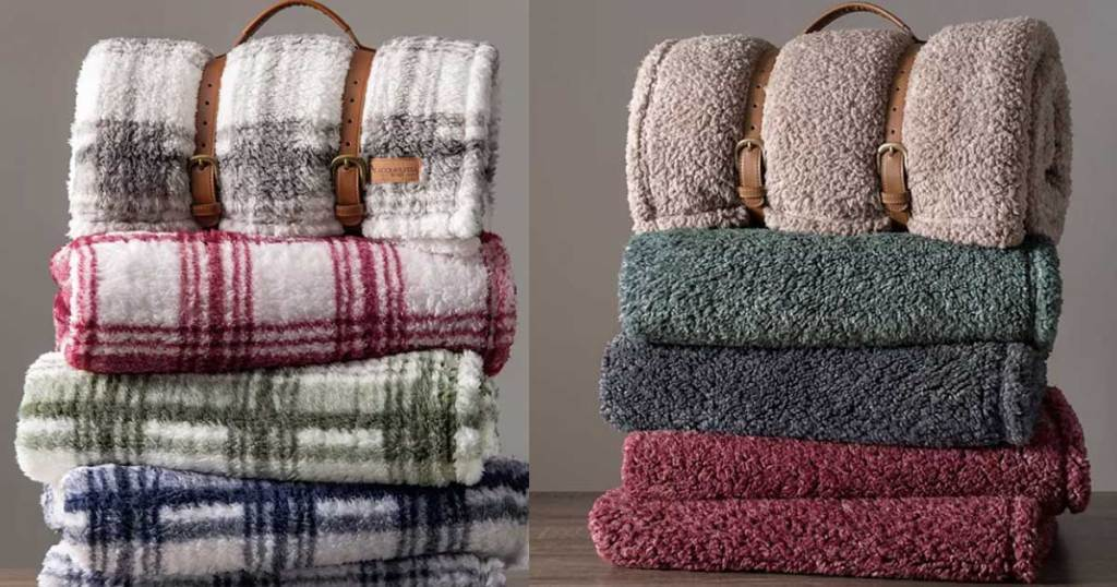 two stacks of folded blankets