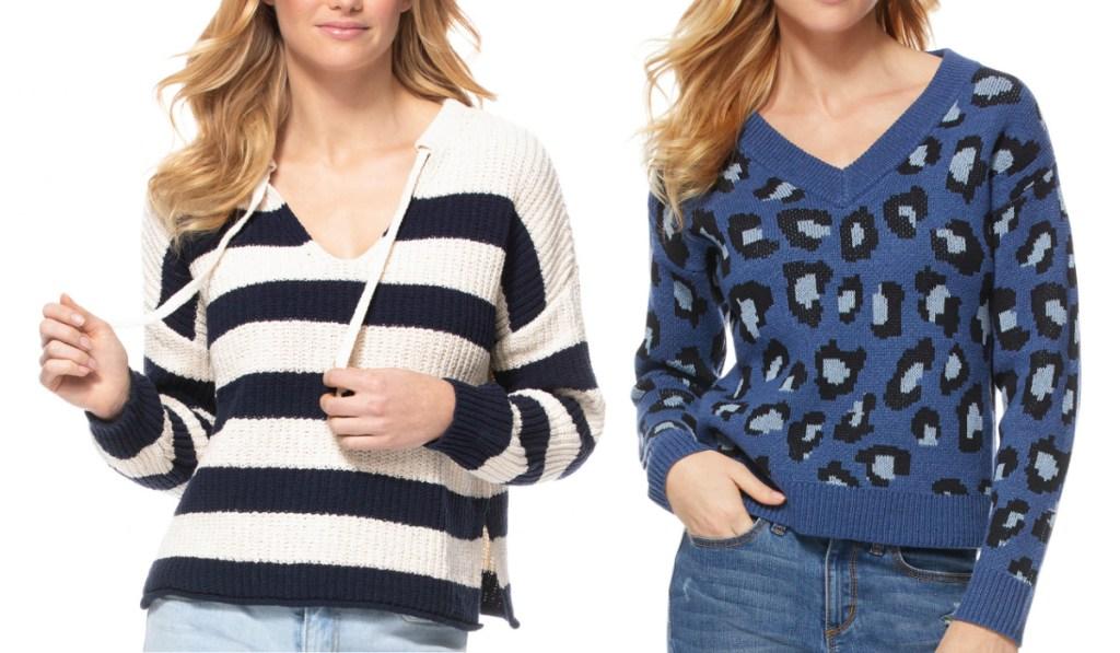 walmart sweaters striped and animal print
