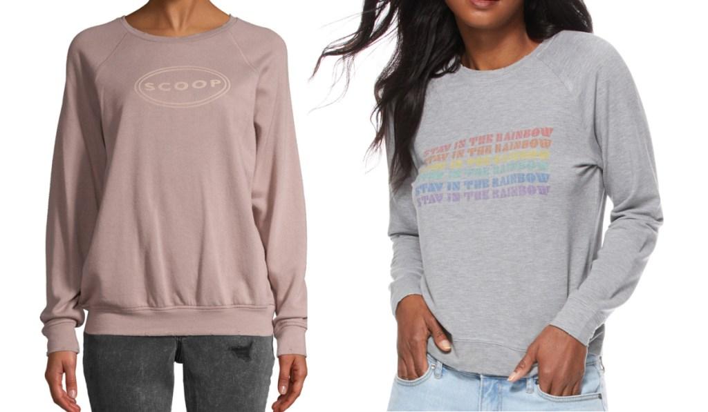 walmart sweatshirts rose and gray