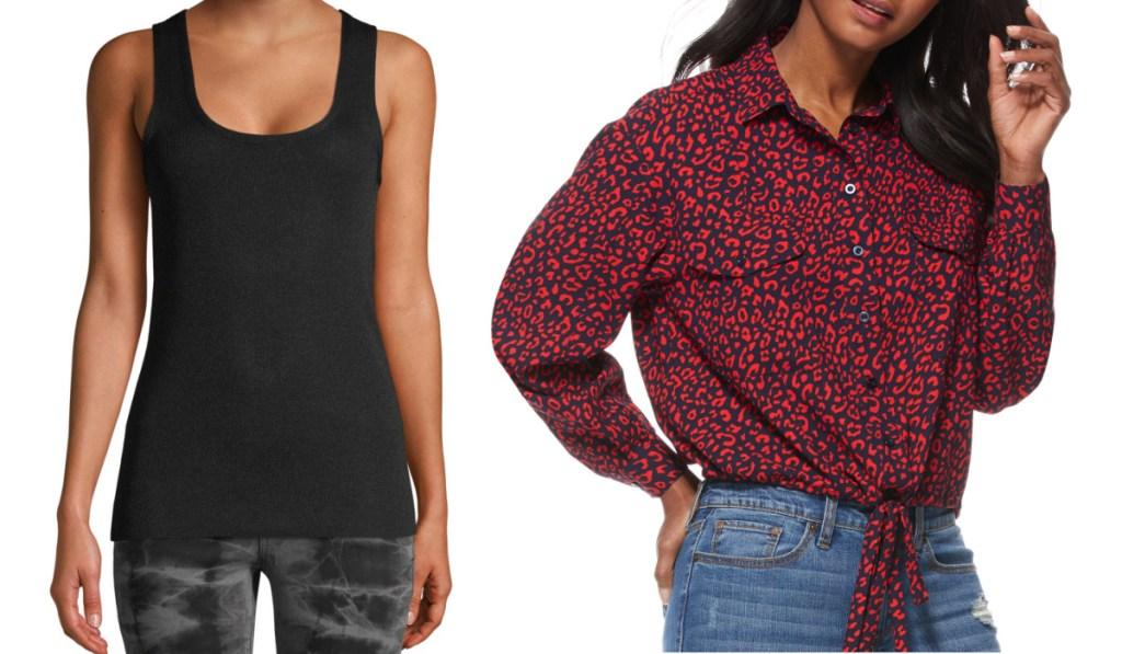 womens tank and animal print blouse at walmart