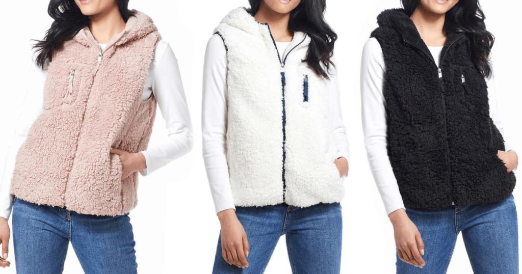 three women wearing fuzzy vests on white background