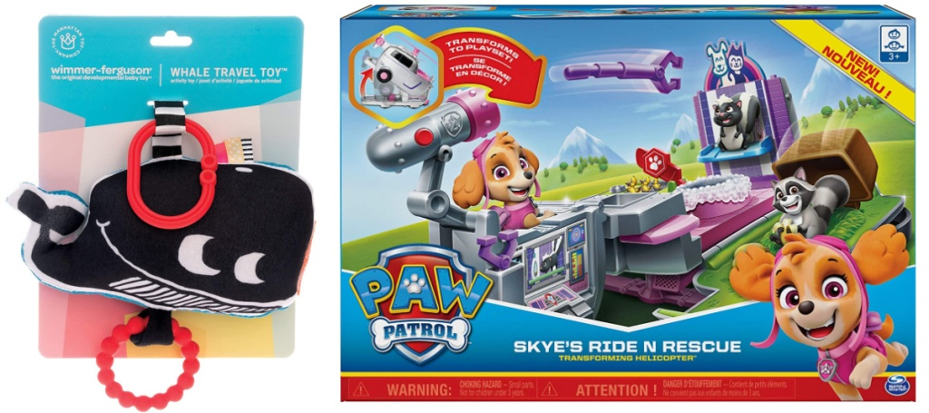 whale travel toy and paw patrol skye's ride n rescue