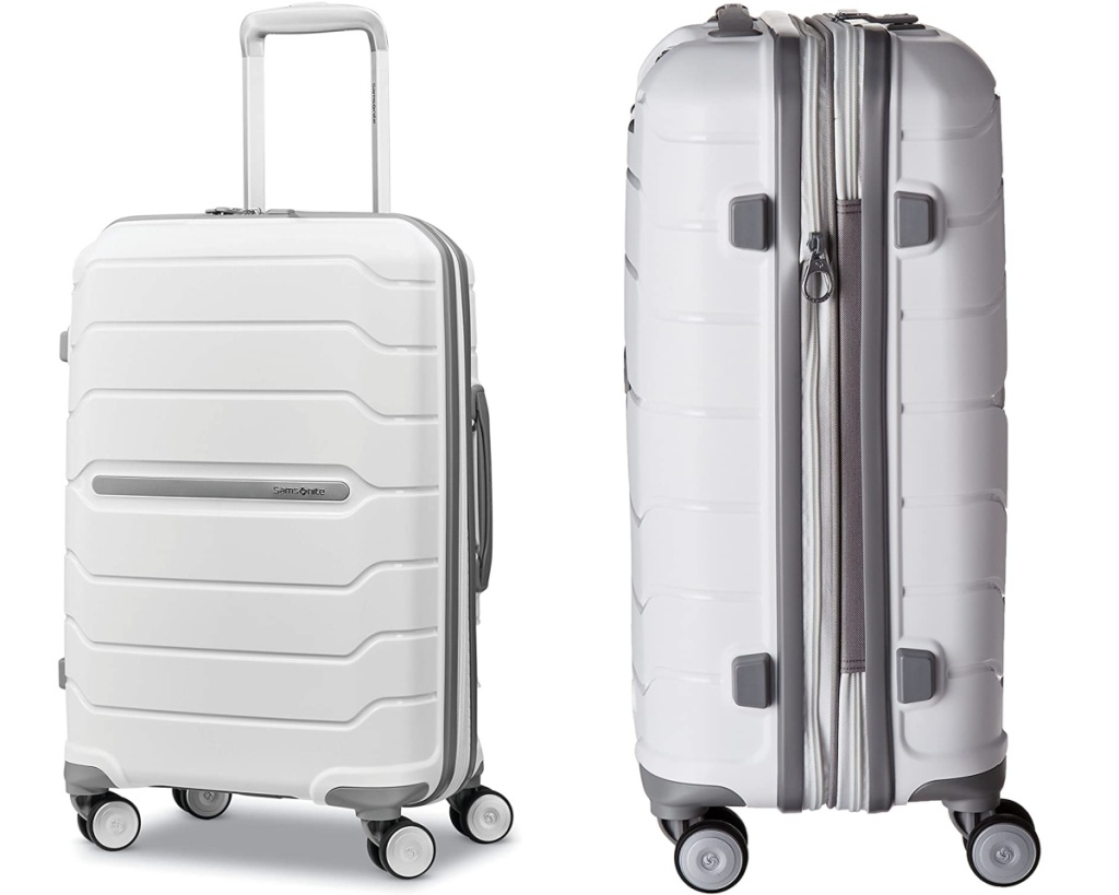 white samsonite luggage front and side