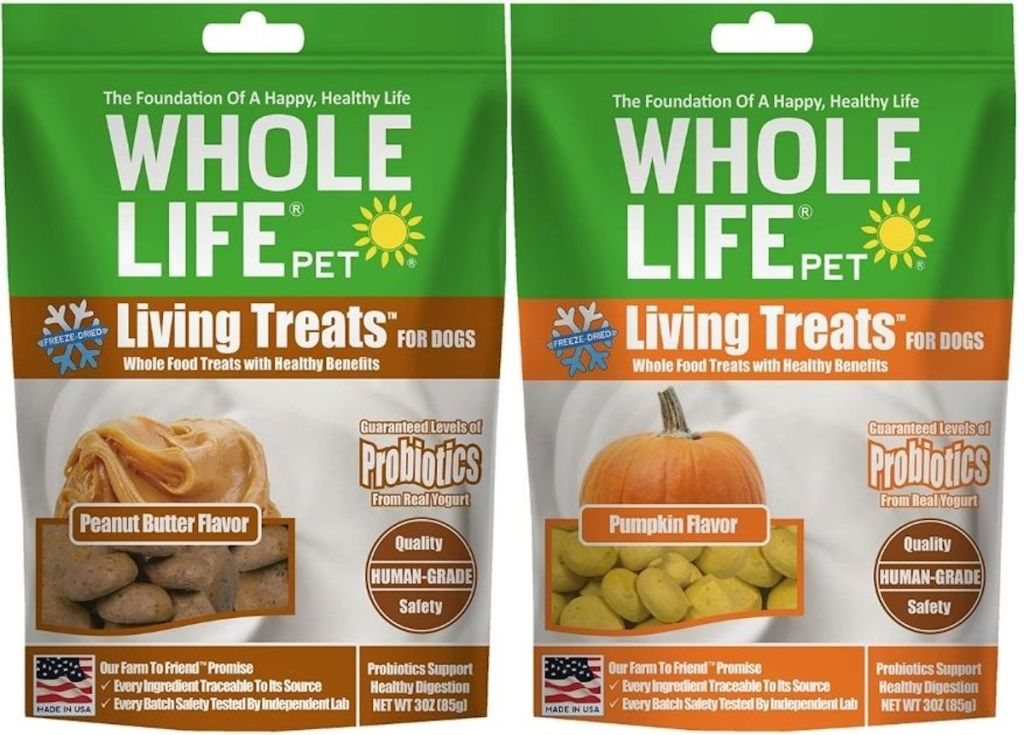 two bags of whole life pet treats