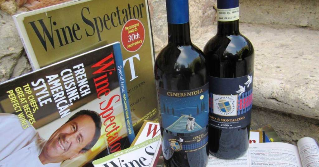 wine spectator magazine on display with bottles of wine