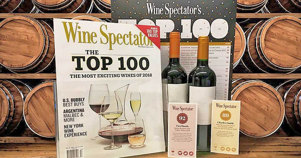 wine spectator magazine with bottles of wine