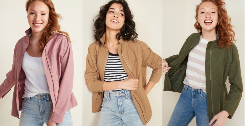women wearing utility jackets from Old Navy
