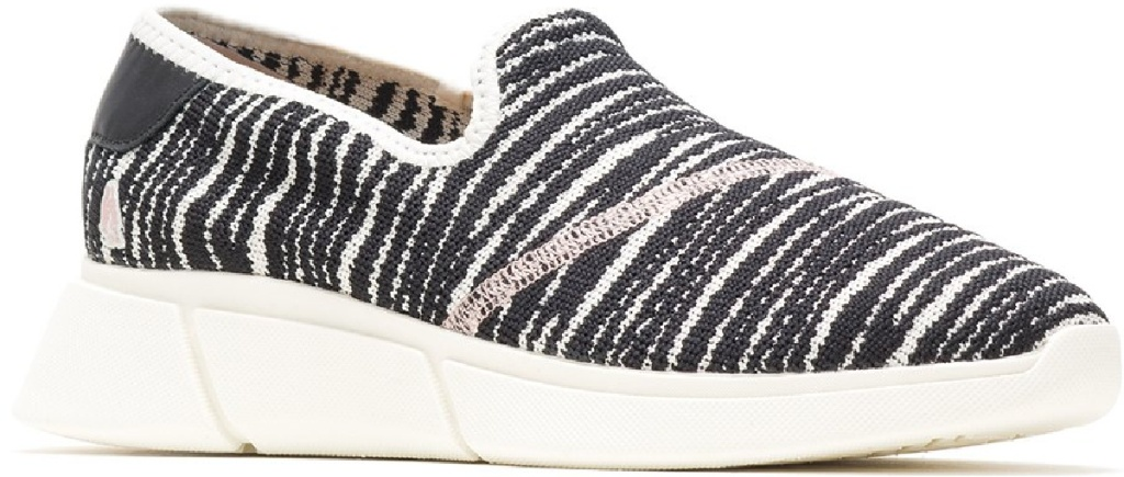 slip on shoe that is black and white striped
