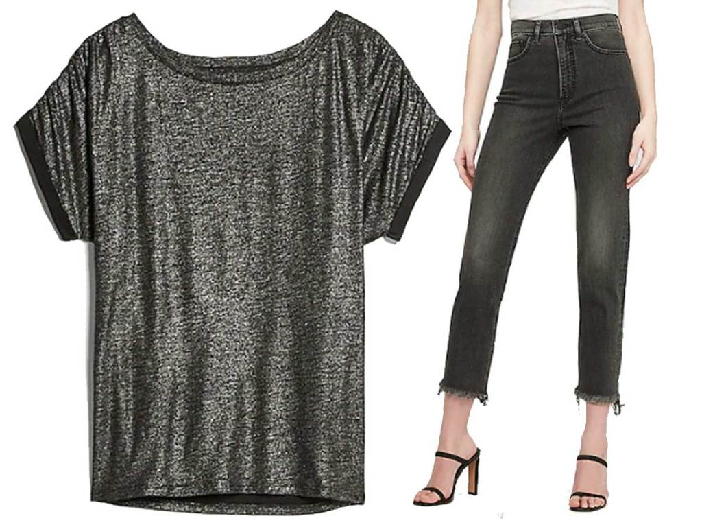 women's shirt and black jeans stock image