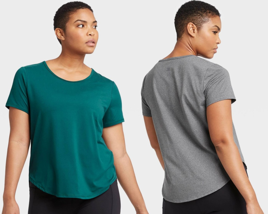teal and gray womens tees