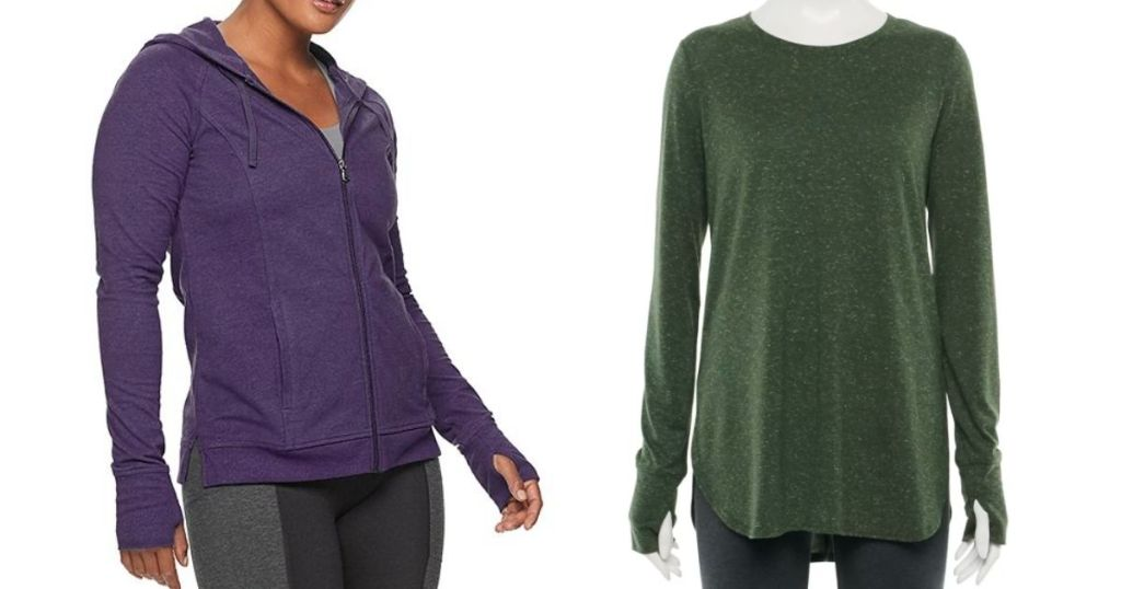 purple zip up and green flowy shirt