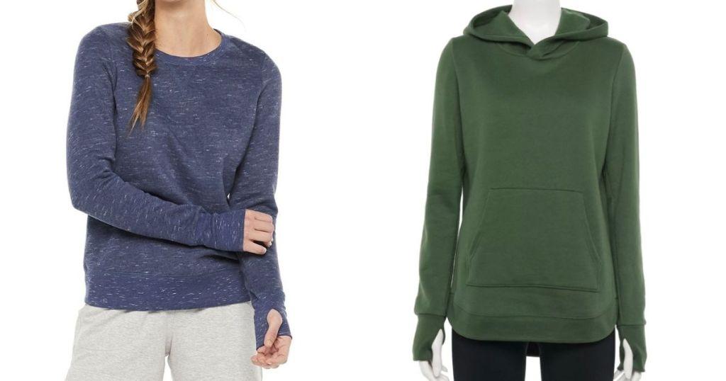 womens blue sweatshirt and green hooded sweatshirt