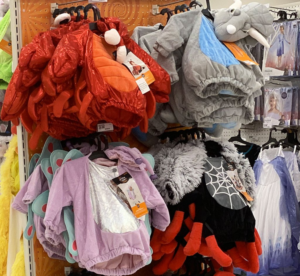 baby costumes on display at target