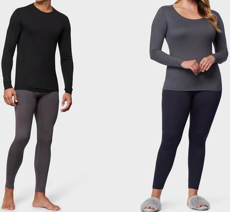 man and woman wearing 32 Degrees base layers