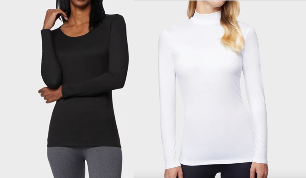 32 degrees womens base layers in black and white