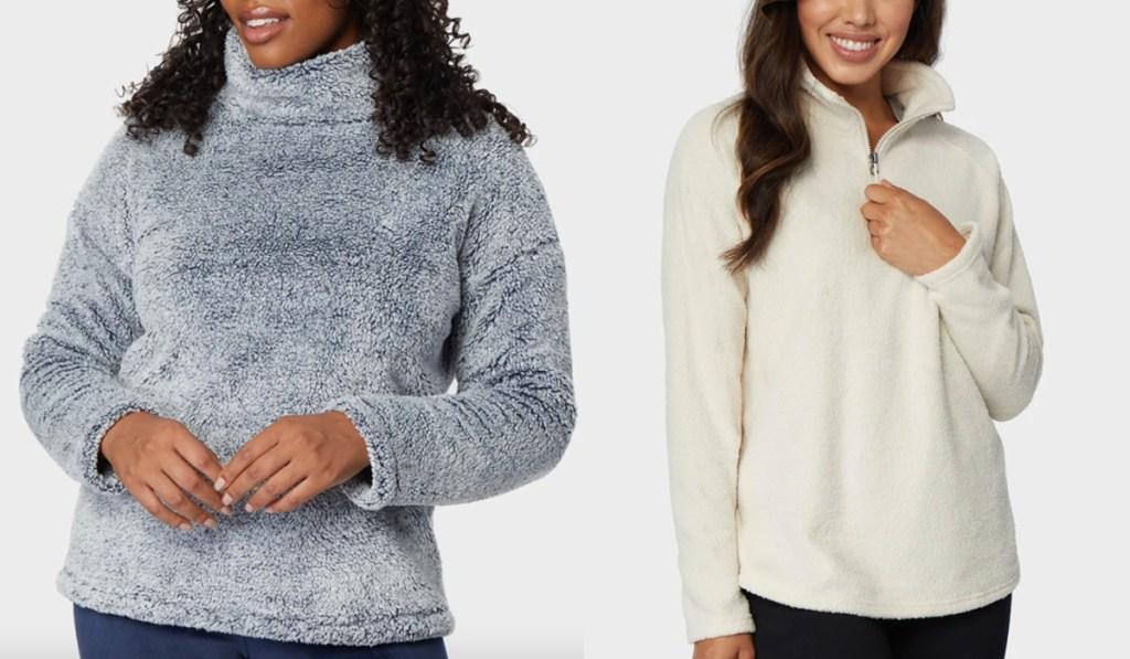 32 degrees womens sweatshirts in gray and cream