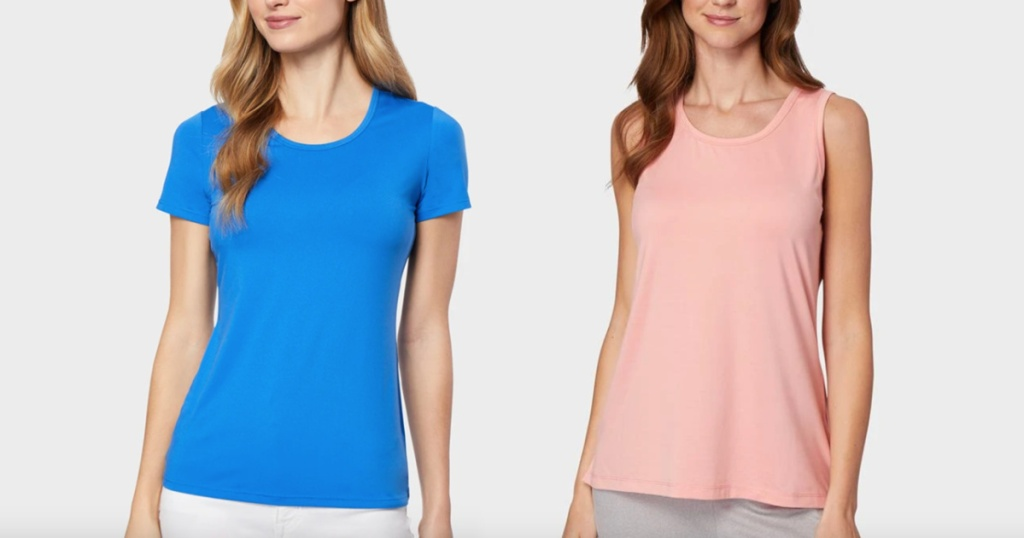 32 degrees womens tees blue and pink