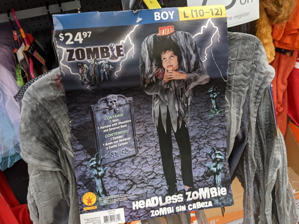 boys headless zombie costume in store at walmart