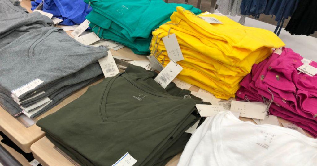shirts on shelf