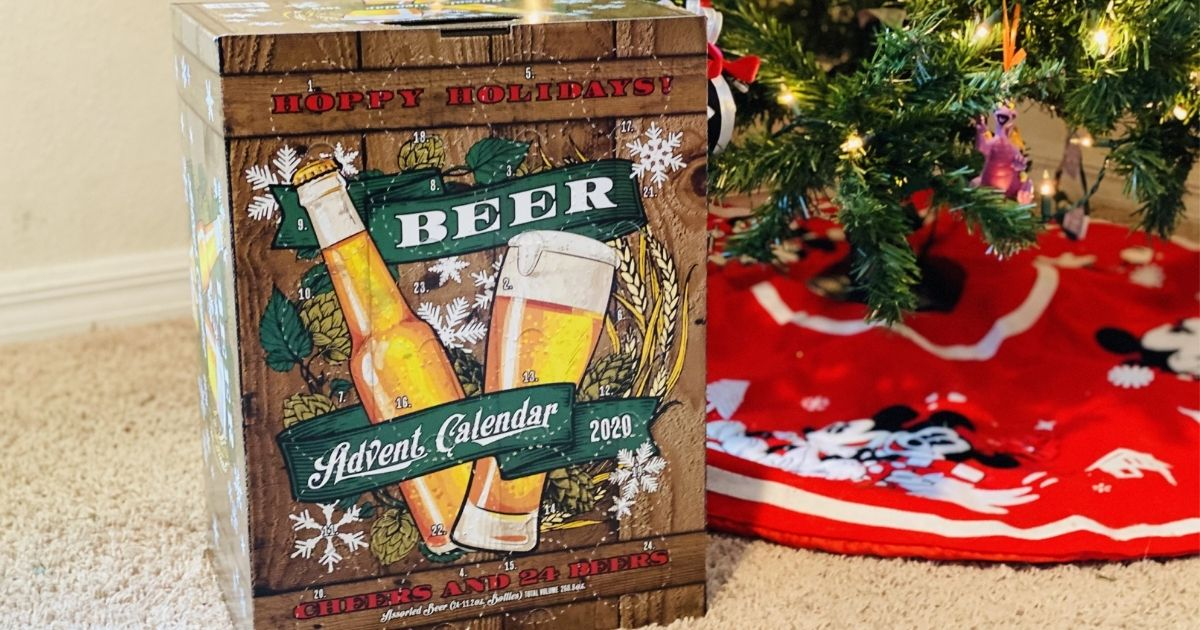 ALDI advent calendar with beer by a tree