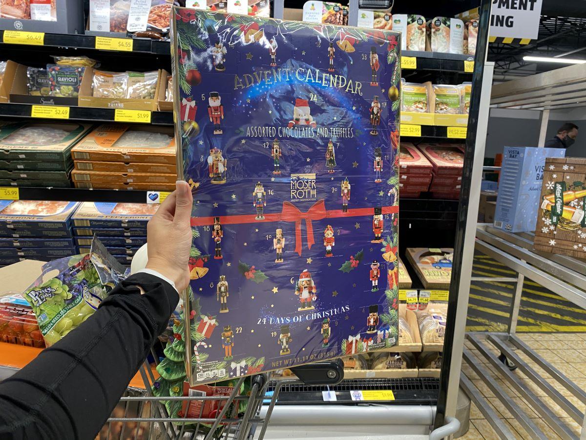 hand holding an ALDI advent calendar