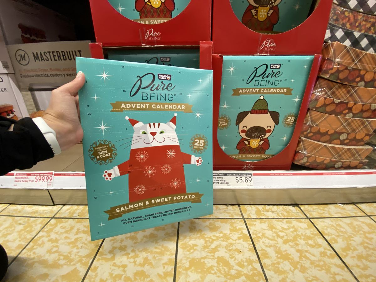 hand holding a cat treat Advent Calendar by a dog treat Advent Calendar