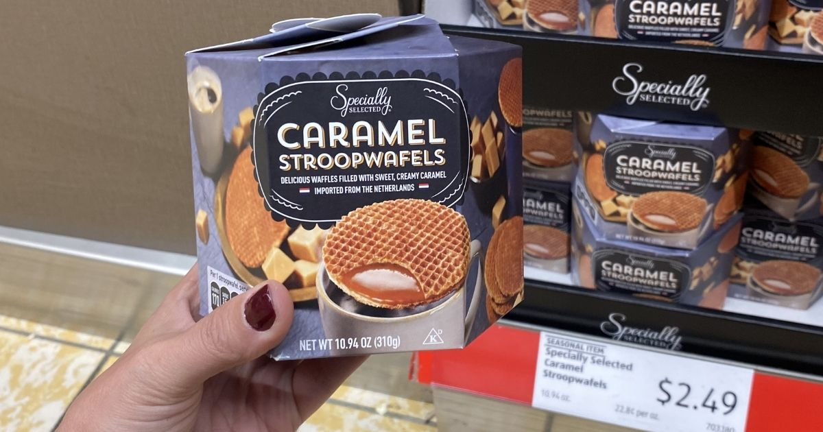 hand holding a box of Stroopwafels