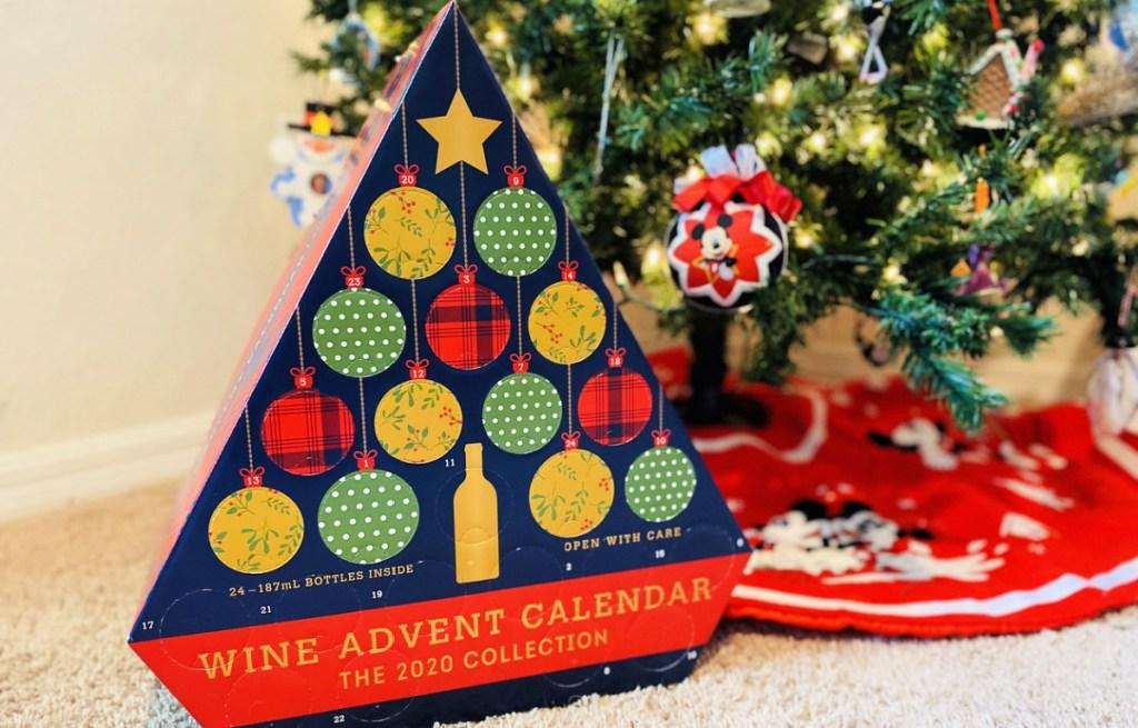 ALDI Wine Advent Calendar underneath Christmas tree