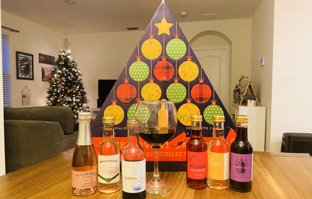 ALDI Wine Advent Calendar with bottles of wine and glass
