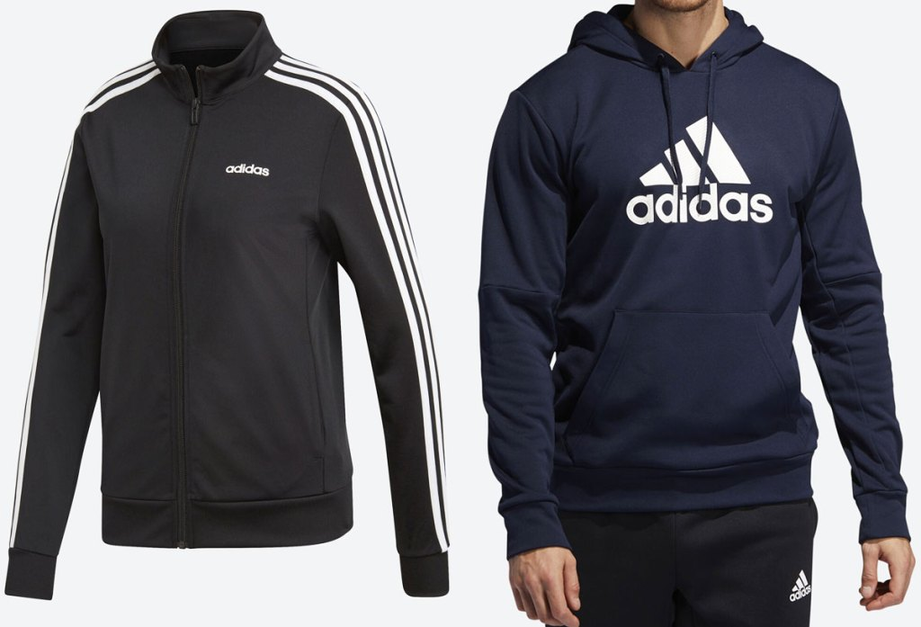 womans black adidas track jacket with white stripes down the arms and a man wearing a navy blue hoodie with adiads logo in white